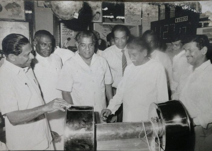 Founding Chairman Late Mr. N. W. Odiris Perera introducing the Dual Industrial Electric Coconut Scraper to HE Former Late President Mr. R. Premadasa in 1995